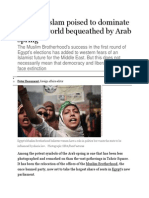 Political Islam Poised to Dominate the New World Bequeathed by Arab Spring