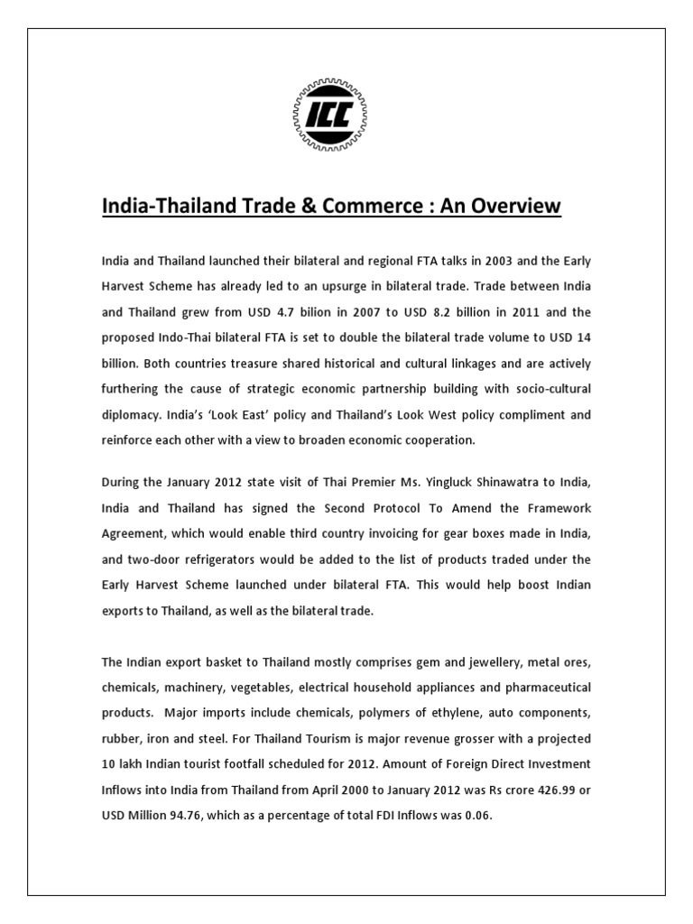 India-Thailand Trade & Commerce: An Overview | Trade