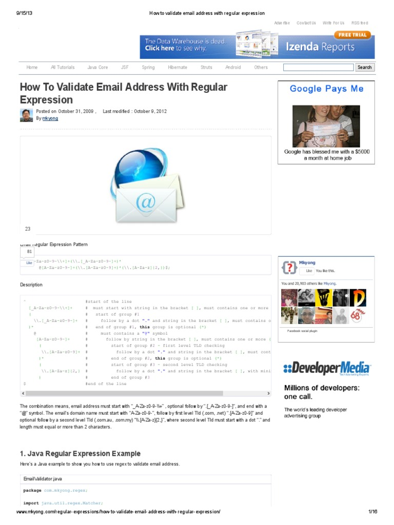 How to Validate Email Address With Regular Expression | Regular