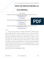 Optimization of photochemical machining