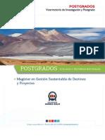 Magíster en Gestión Sustentable de Destinos yProyectosTurísticos