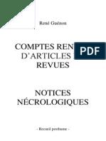 Rene Guenon - Recueil Posthume, Comptes Rendus d'Articles de Revues Notices Necrologiques