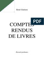 Rene Guenon - Recueil Posthume, Comptes Rendus de Livres