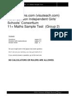 11plusexams Nligsc Maths Sample Test