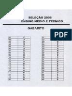 Gabarito - Processo Seletivo 2008 - Ensino Medio e Concomitantes