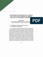Los sistemas de control de la calidad de la educacion superior en America Latina en la III Refoema Universitaria