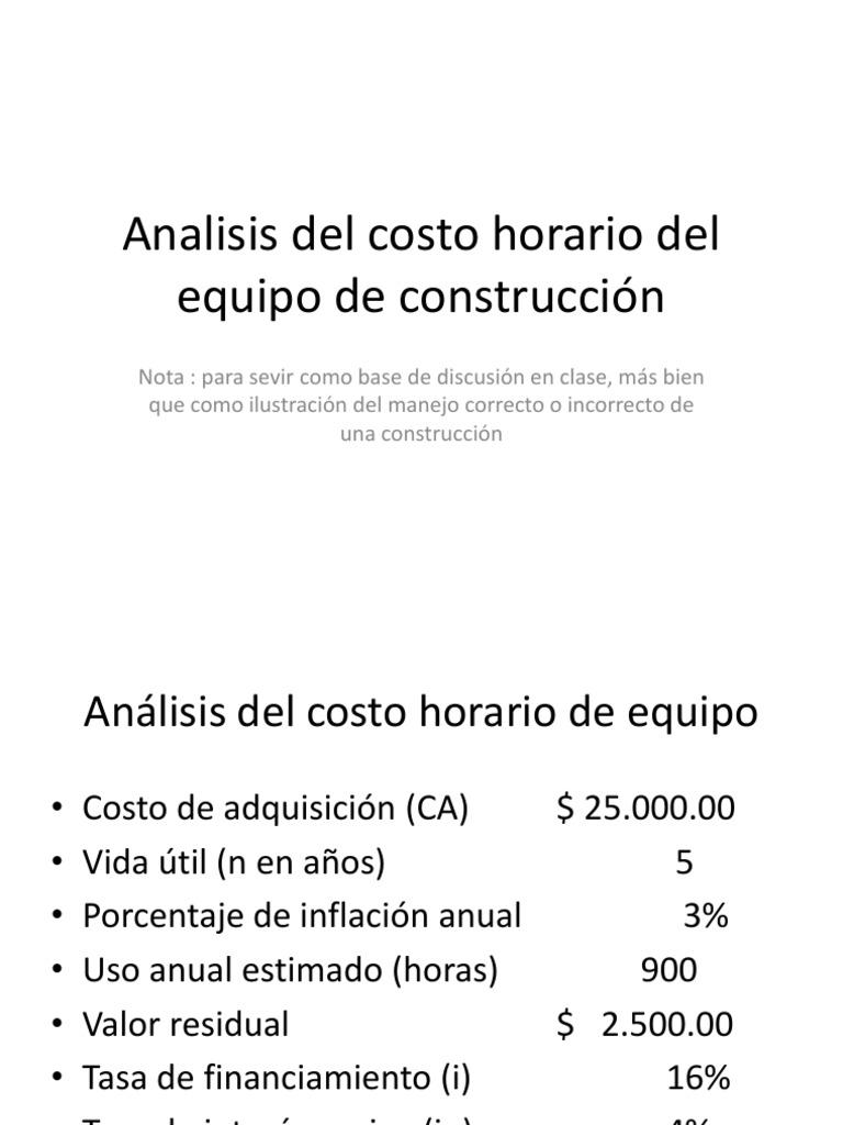 analisis del costo horario del equipo de construcción