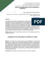 Estilos de Aprendizaje y Su Influencia Para Aprender a Aprender Visto