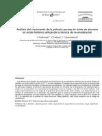 Análisis del crecimiento de la película porosa de óxido de aluminio en ácido fosfórico utilazando la técnica de re-anodización