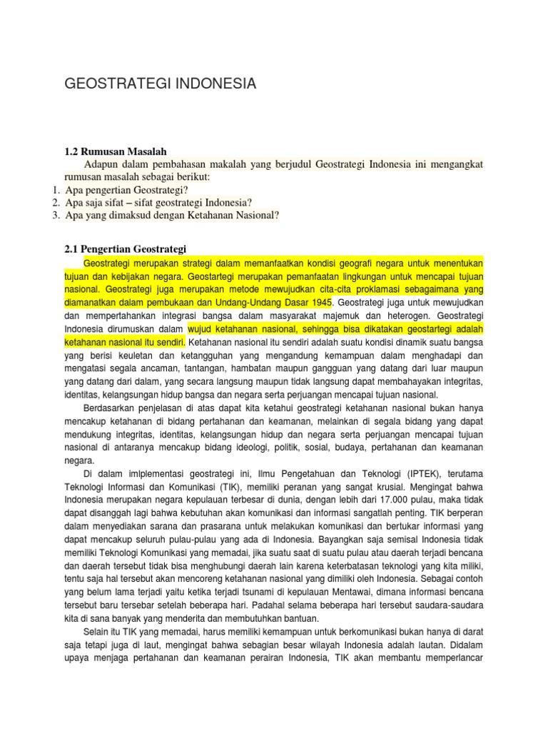 Makalah Geostrategi Indonesia Atau Ketahanan Nasional