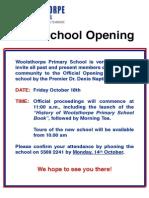 Woolsthorpe Primary School Opening Poster