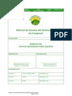 Manual de Usuario PM-039 Lista de Materiales Para Equipos