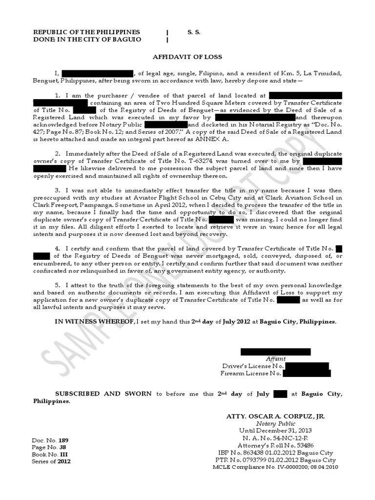 Sample Affidavit Of Lost Title Notary Public Civil Law Common Law