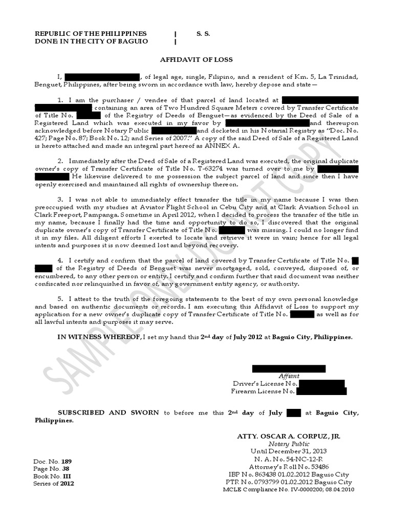Sample Affidavit of Lost Title | Notary Public | Civil Law