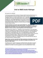 Offener Brief an Anette Hübinger