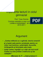 Importanta Lecturii in Ciclul Gimnazial