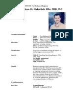 RESUME for Mechanical Engineer MSC PMP CSE