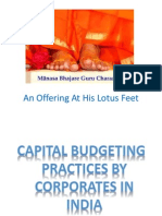 CAPITAL BUDGETING PRACTICES BY CORPORATES IN  INDIA