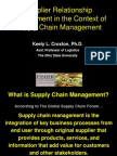 Supplier Relationship Management in the Context of Supply Chain Management
