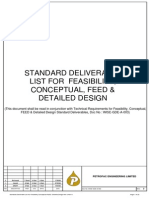 Standard Deliverable List for Feasibility Conceptual FEED Detailed Design