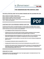 Requirements for Underground Fire Service Lines