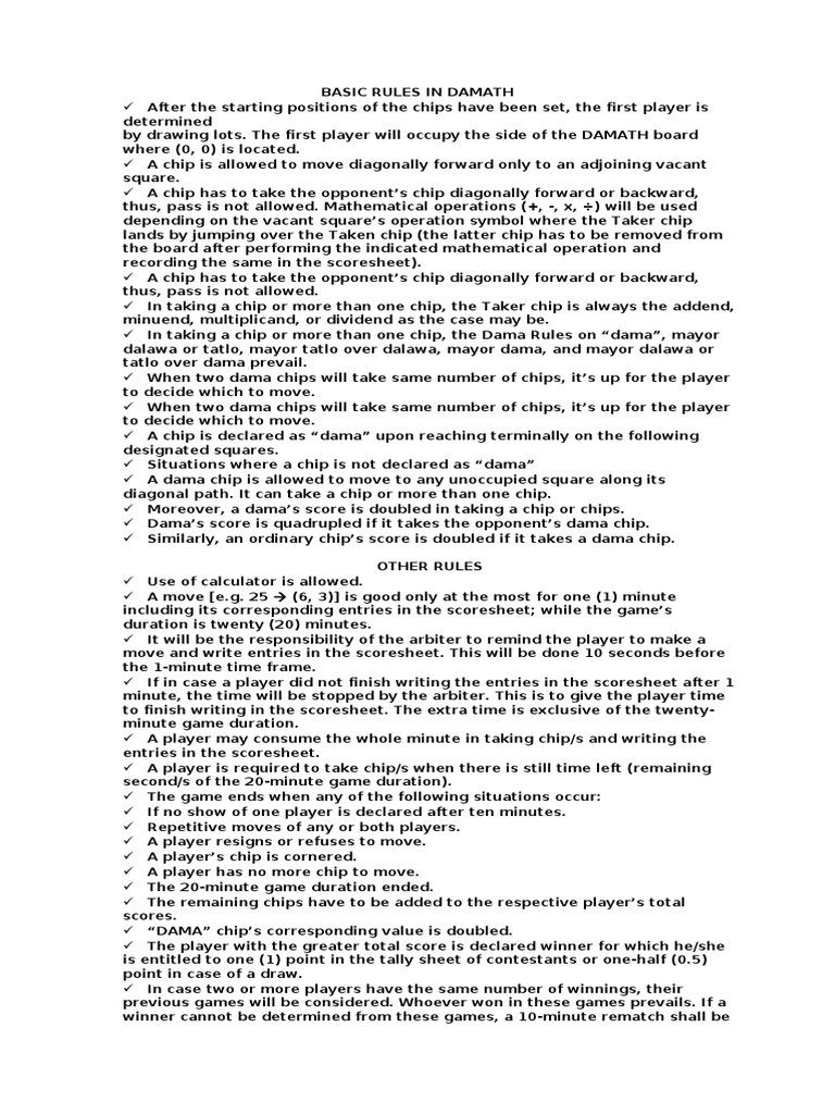 history of damath Transcript of lez play damath  history of the game lez play 5  a sample damath score sheet the damath board math marathon 2013 damath 2 -5 8 -11 10 -3 -9 4 .