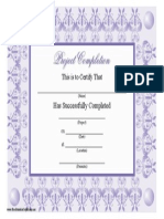 Project Completion Certificate Filigree
