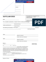 Quit Claim Deed Form Sample