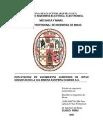 Tesis 2009-Explotacion de Yacimientos Auriferos de Vetas Angostas en La CIA Minera Aurifera Eugen