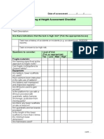 Risk Assessment Checklist Working at Height