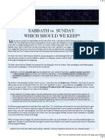 Sabbath vs. Sunday - Which Should We Keep?