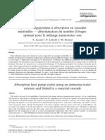 Cycles de Frigopompes a Absorption en Cascades Materielles - Determination Du Nombre d'Etages Optimal Pour Le Melange Ammoniac Eau