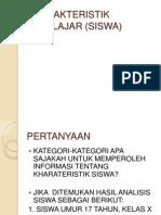 KHARAKTERISTIK PEBELAJAR (SISWA)