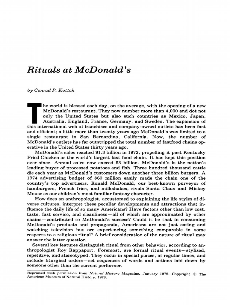 c p kottak rituals at mcdonald s v 1 no 2 1978 mc donald s rituals rh scribd com McDonald's Farm O mcdonalds o t manual download