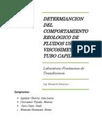 Lab de Fenomenos 3determiancion Del Comportamiento Reologico de Fluidos Usando Viscosimetro de Tubo Capilar