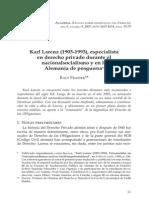 Karl Larenz 1903 1993 Especialista en Derecho Privado Durante El Nacionalsocialismo y en La Alemania de Posguerra