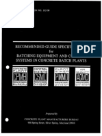 Concrete Facility Guide Specs for Batching Equipment & Control