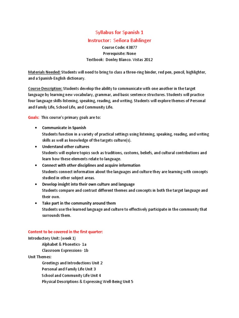 Syllabus For Spanish 1 Test Assessment Homework