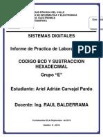 Practica Codigo BCD y Sustraccion Hexadecimal