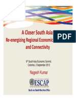 6th SAES - Presentation by Nagesh Kumar (UNESCAP SRO-SSWA) - 'A Closer South Asia'