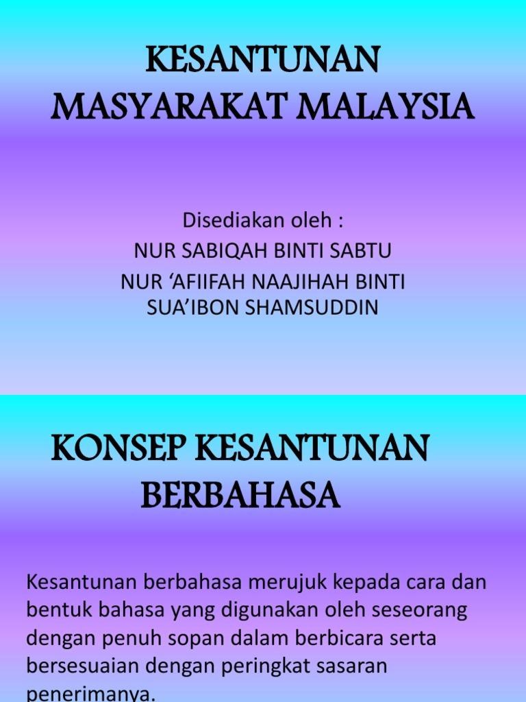 Kesantunan Masyarakat Malaysia 1