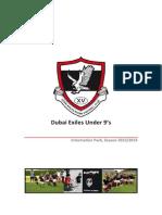 2013-4 Season U9 Information Pack/Welcome Pack