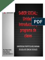 Cronograma de Sesiones y Exposiciones Saber Social