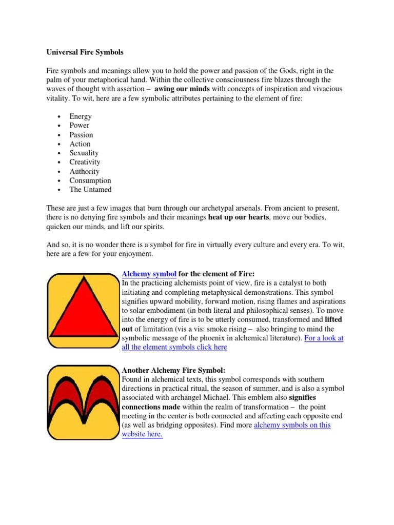 Universal Fire Symbols Alchemy Science