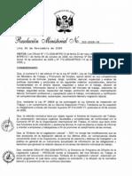 RM N° 322-2009-TR, Síntesis Laboral