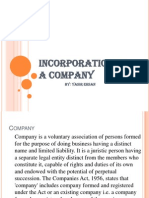 Incorporation of a Company