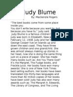 Judy Blume- Mackenzie Rogers