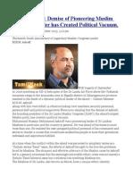MHM Ashraff Demise of Pioneering Muslim Congress Leader Has Created Political Vacuum.