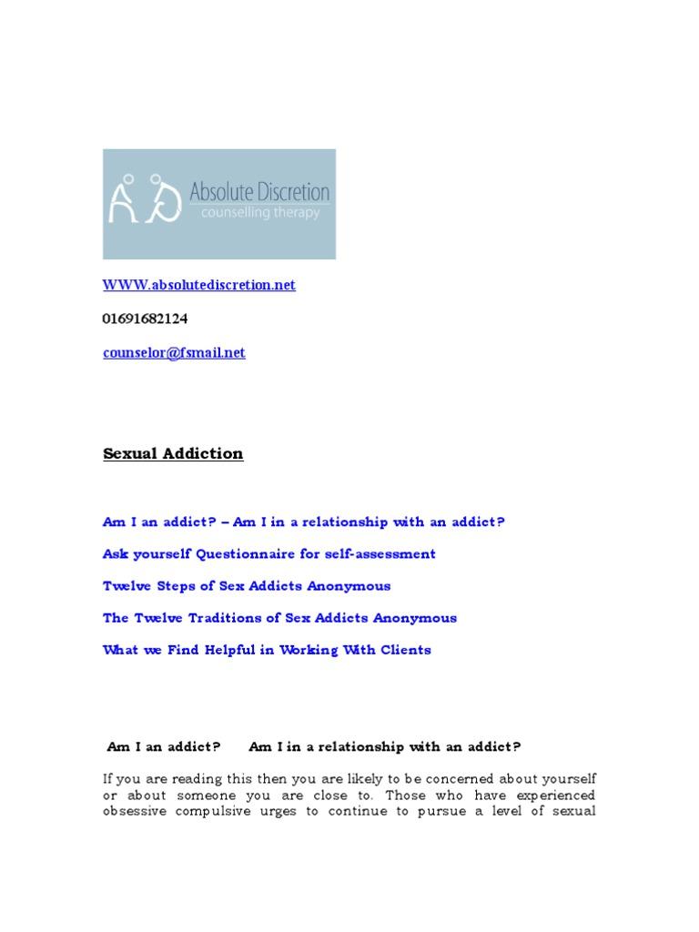 Sex addiction questionnaire