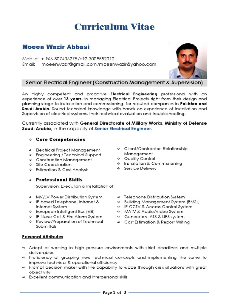 Cv For Pakistani Electrical Engineer Construction Management Saudi Arabia